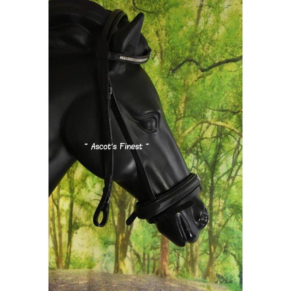 Zwart rundlederen hoofdstel met kroontjes - Pony, Cob en Full