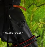Ascot's Finest Black leather bridle with red padding and strass - Pony, Cob and Full