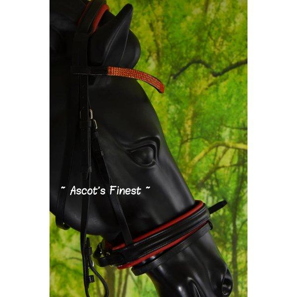 Zwart lederen hoofdstel met rode padding en strass - Pony, Cob en Full