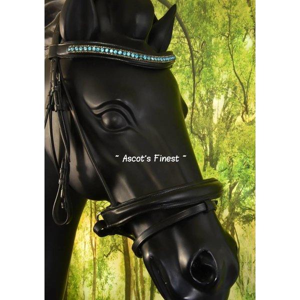 Zwart rundleer - turquoise frontriem - Full