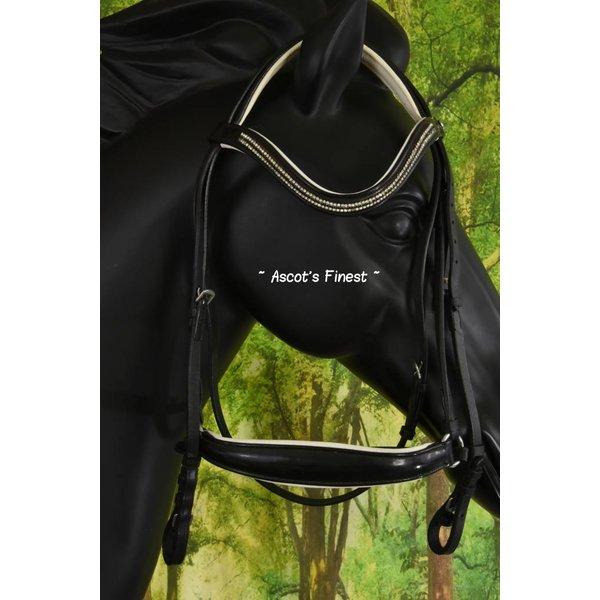 Zwart lederen hoofdstel met lage neusriem - Pony en Cob