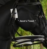 Ascot's Finest Zwart leder met wit stiksel - maat Cob