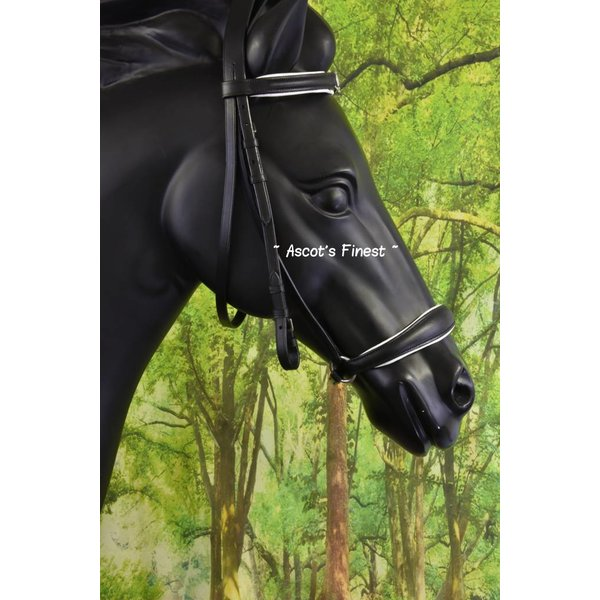 Black cowhide leather dropped noseband - Full and Cob