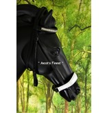 Ascot's Finest Black cowhide leather drop noseband with white padding - Pony, Cob and Full