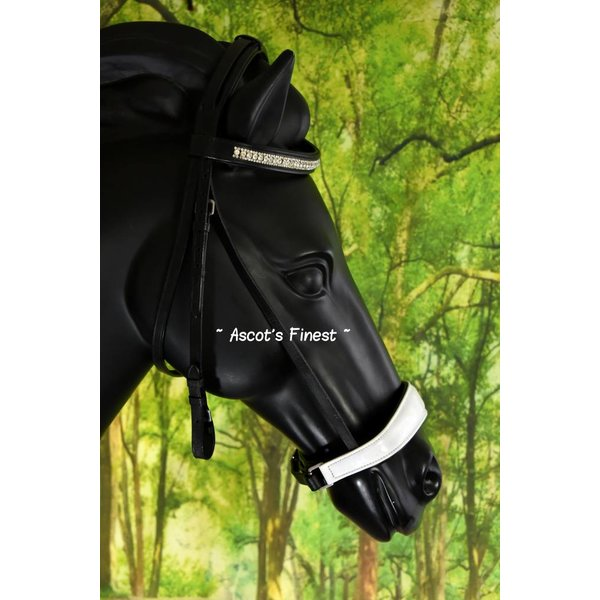 Black cowhide leather drop noseband with white padding - Pony, Cob and Full