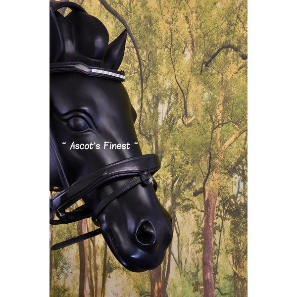 Zwart rundleer met brede frontriem - Full