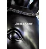 Ascot's Finest Zwart rundleer met blauwe/zwarte Swarovski strass - 42,5 cm - ruime Full