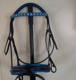 Ascot's Finest Zwart rundlederen hoofdstel Maat Full met blauw/zilveren Swarovski frontriem