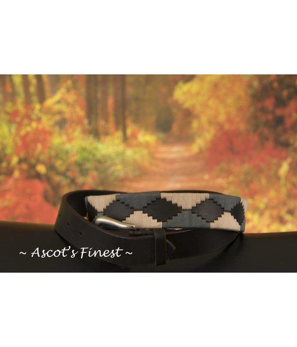 Ascot's Finest Polo riem met crème en grijskleurig stiksel – 92 t/m 102 cm