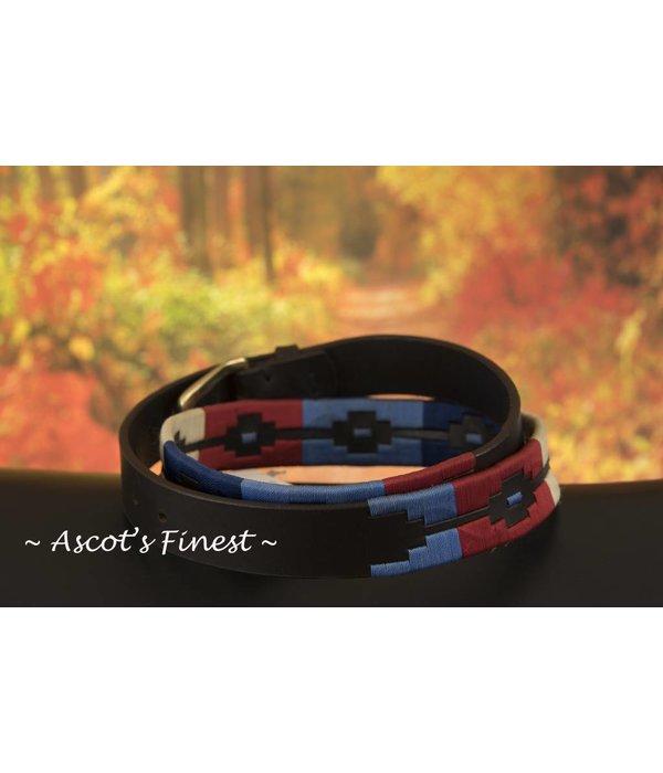 Ascot's Finest Polo riem met lichtblauw, rood en crème kleurig stiksel – 95 t/m 105 cm