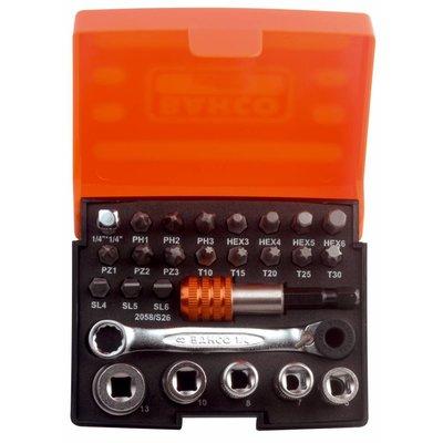 Bahco bits- en dopsleutelset (26-delig) 2058/S26