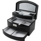 Sieradendoos luxe zwart/wit velours uitklapbaar 807