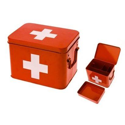 PT Medicijn box rood met wit kruis M. Formaat 21,5x15,5x16cm