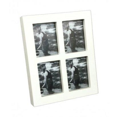 Balvi Leuke houten fotolijst voor 4 foto's van 3x4cm.