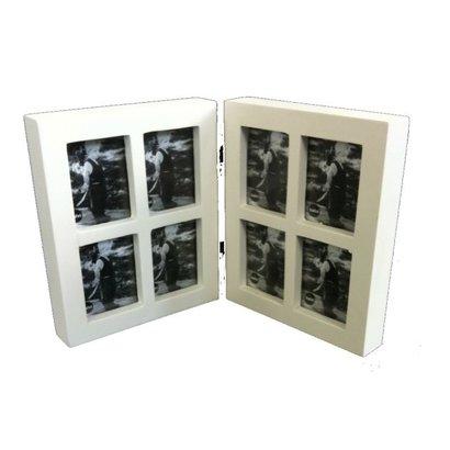 Balvi Fotolijst collage tweeluik 8 in 1 mini wit. Voor 8 foto's van 3x4cm.