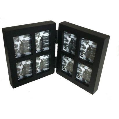 Balvi Fotolijst collage tweeluik 8 in 1 mini zwart. Voor 8 foto's van 3x4cm.