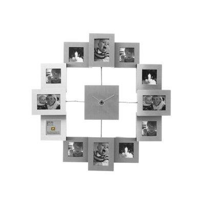 Fotolijst klok family time alu small voor 12 foto's