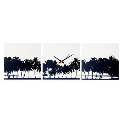 Karlsson Karlsson wandklok Beach Skyline. Set van drie vierkanten van 35x35cm.