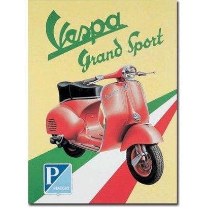 Plaquet Vespa Grand Sport 30x41cm metaal