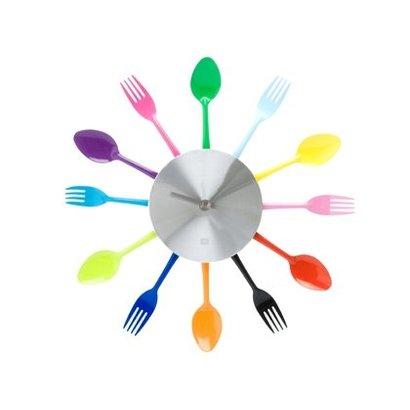 PT Keukenklok met lepels en vorken in vrolijke kleuren. Doorsnee 38cm.