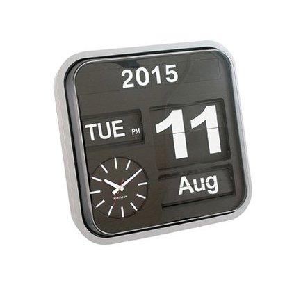 Karlsson Retro Flip klok Big Time met jaar, dag en datum aanduiding. Zilveren kast met zwarte wijzerplaat. Tijdelijk uitverkocht!