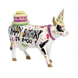 Cowparade Medium Ceramic Happy Birthday to Moo