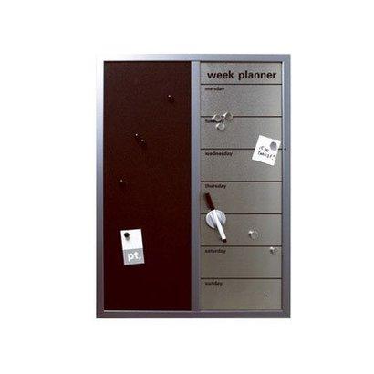 PT Memobord met weekplanner zilver/zwart. Inclusief stift en magneten.
