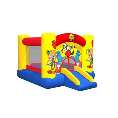 Vrolijk springkasteel, in clown–thema. Voorzien van basketbalring! Staat in 1 minuut, met de bijgeleverde blower (220V). Inclusief basketbalring, reparatieset, opbergtas en haringen. Afmetingen: 300 x 225 x 175 cm.