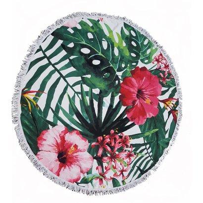 Roundie beach towel - rond strandlaken - badstof- boho - Ibiza handdoek bali stijl - Flower