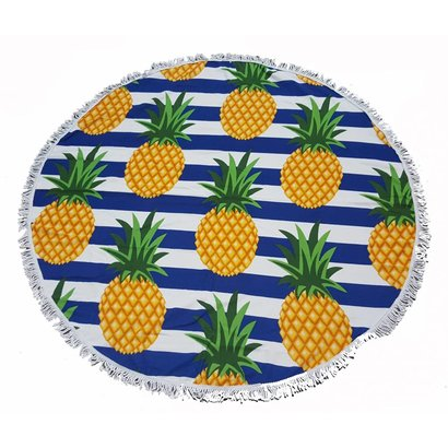Roundie beach towel - rond strandlaken - badstof- boho - Ibiza handdoek bali stijl - Ananas