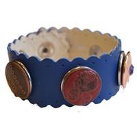 Babouche Baboos Babouche armband leer wave blauw