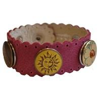 Babouche Baboos Babouche armband leer wave roze