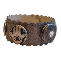 Babouche Baboos Babouche armband leer wave oud zilver