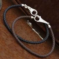 Watsup Silver Armband leer 4mm bruin