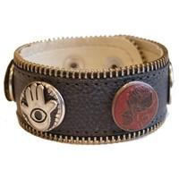 Babouche Baboos Babouche armband leer antraciet rits