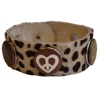 Babouche Baboos Babouche armband leder luipaard wit