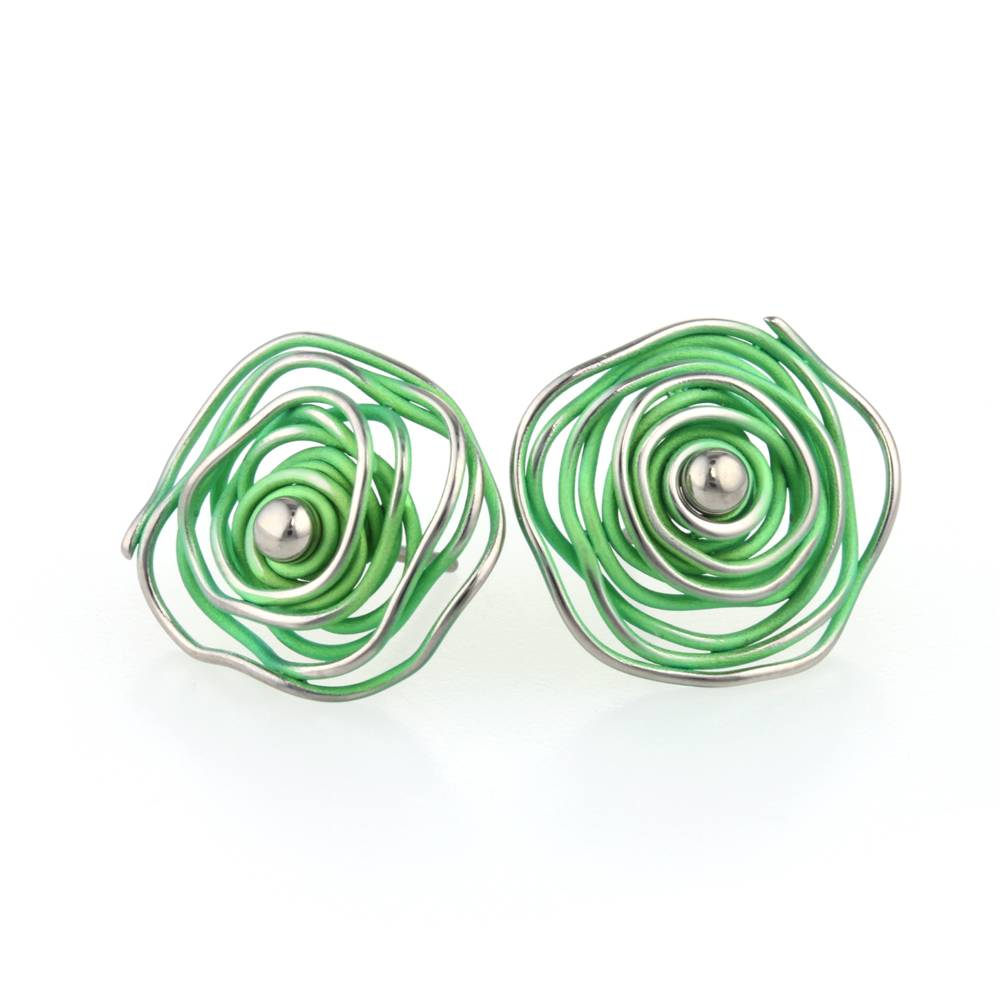 stud with earrings silver jewelry clover sterling shamrock cubic zirconia in green