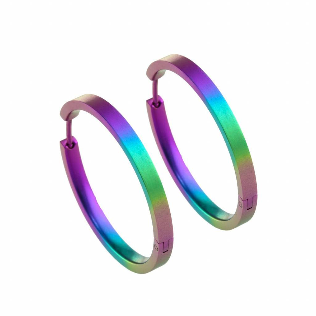 Titanium Design Earring 32mm x 3mm 2017322-RBB