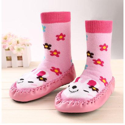 Sokslofje roze konijntje met bloemetjes in maat M
