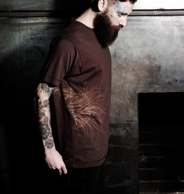 Workaholic T-Shirt, Snail, Classic Neck, brown