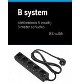 B System B System Stekkerdoos 5 voudig voeding 5 meter BS-SD55