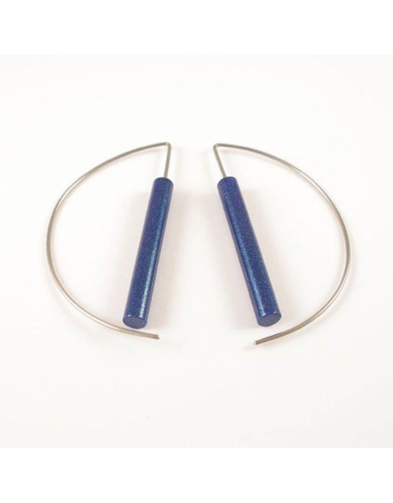 Modern Earrings - Metalic Blue