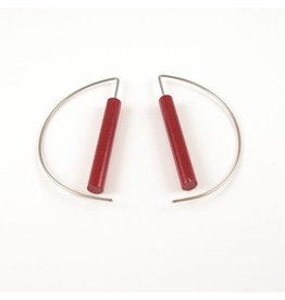 Modern Earrings - Metalic Red