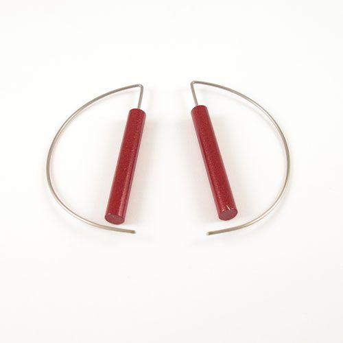 Moderne oorbellen - Metalic Rood