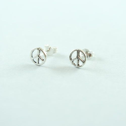 LAVI Sterling Silver Peace Ear Studs