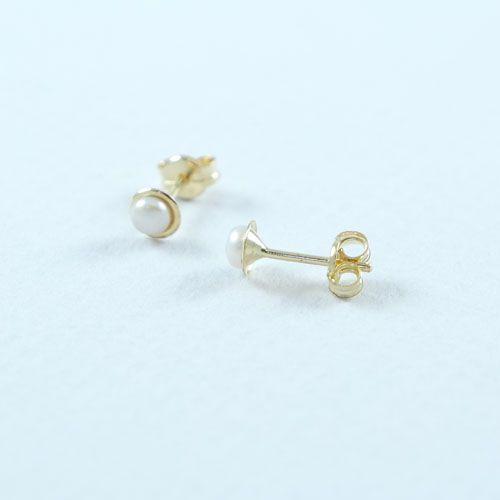 LAVI Gold 14K Freshwater Pearl Earring Studs