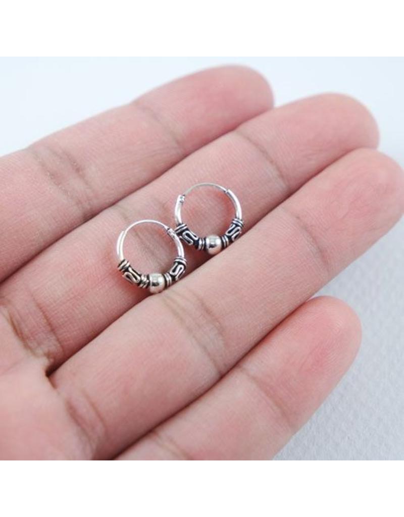 LAVI Sterling Silver Bali Hoop Earrings 12mm