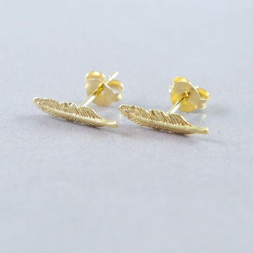 Gold Plated Feather Ear Studs Lavi Collection