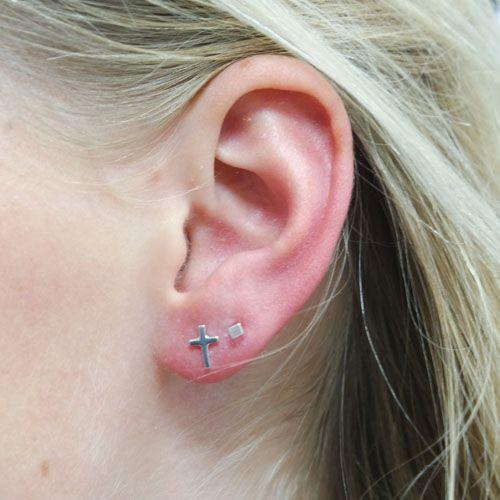 LAVI Cross Ear Studs Sterling Silver