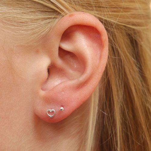 Heart Shaped Ear Studs - Sterling Silver